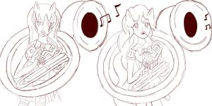 Sketch Commission || Beauty Brass And Pinkie Pie by Bloody-Prison-Rose