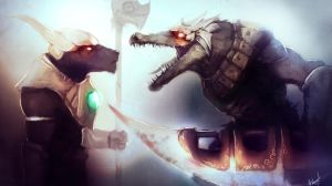 League of Legends Rivals: Renekton vs Nasus by AthavanArt