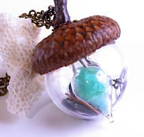 Steampunk Necklace Industrial Nature Glowing Acorn by byrdldy
