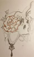Skull and Flower by Xylidyti