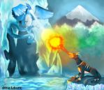 The Fight: Articuno n Houndoom by Drii-a7x