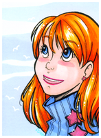 Girl with Orange Hair - ACEO trade by tea-bug