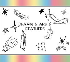 Drawn Stars And Feathers Brush by dazzle-textures