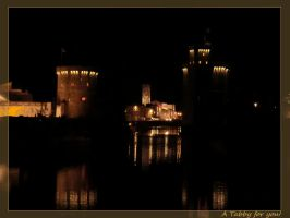 a small port town at night by TanteTabata