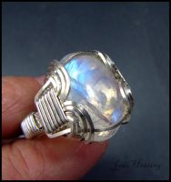 Rainbow Moonstone Ring - Wire Wrapped by andromeda