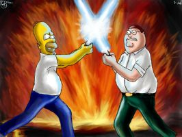 homer vs peter griffin by foice