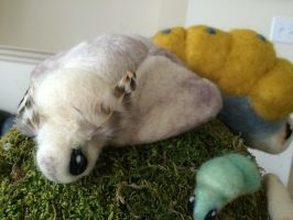 Miyazaki-style Needle-felted Poodle Moth by SimplesEmporium