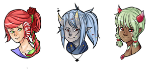 Horned Ladies Headshots by papyrus-tree