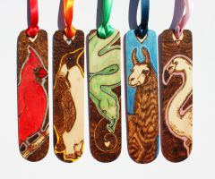 Pyrography and enamel colour bookmarks by BumbleBeeFairy