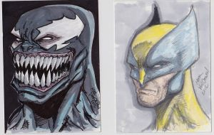 Venom and Wolverine Sketch Cards by MikeVanOrden