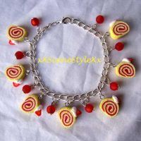 Strawberry Swiss Roll Bracelet by xXSceneStyleXx