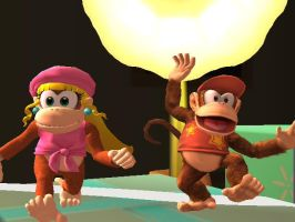Diddy Kong and Dixie Kong by Sunnyme60