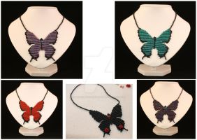 Commission Butterfly Necklaces by WhiteMagicPriestess