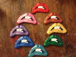 Rainbow of Painted Rocky Lips by missfit1023