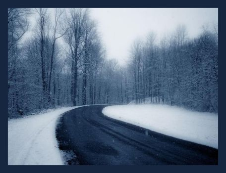 bluecountry road in winter2 by friedzombiebrain