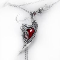 RUNILMARH - silver , red quartz and garnet by LUNARIEEN
