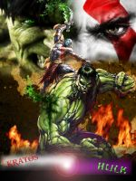 Kratos Vs. Hulk by greengorilla3000