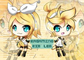AT: Chibi Rin and Len by namrii