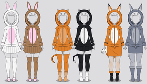 Kisekae Fluffy Animal Hoodies (w/ codes) by RainbowFan256