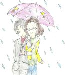 Levi and Hanji-Fun in the rain by landra15