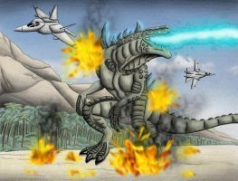 Godzilla vs Jets by chris-illustrator