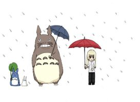 Totoro and a new friend by ApwilCakes