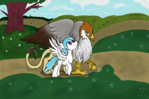 Griffin and pony comission by Lunar-Jasmine
