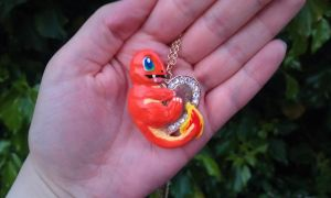 *SOLD* Hand Sculpted Pokemon Charmander Necklace by stephanie1600
