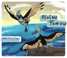 Alolan Fearow (fakemon contest entry) by Xiphosuras