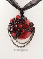 Fused glass red gothic pendant by ukapala