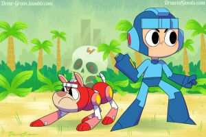 Mega Man and Rush by DrewGreen
