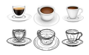 Coffee Icons with outlines by sir-rudolph