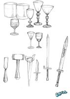 Drinking Glasses, Tools, Swords sketches by PCHILL