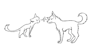 Cat v.s Dog Line-Art by TheAmazingChair