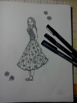 Dress with Roses by FlyLikeAnOwl