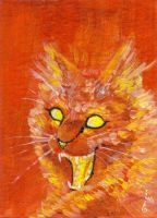 ACEO - Fire Cat by keysan