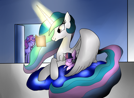 Seventh Pony request - Celestia and Twily by Mytatsur