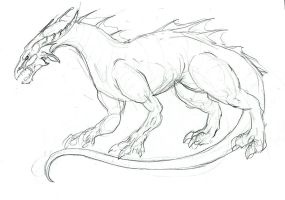 non-winged swamp dragon sketch by LiquidDragonN