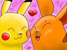 Pikachu x Ling Ling by Icognito-chan
