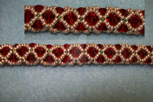 WIP Festive 4mm Red Bicone Bracelet by Yonaka-Yamako