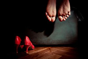 Red shoes and Two feet by GeorgeSevendogs