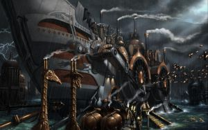Steampunk Naval Ship by Clockwork-esque