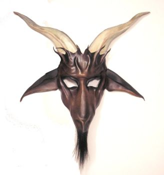 Brown Baphomet Goat Leather Mask by teonova