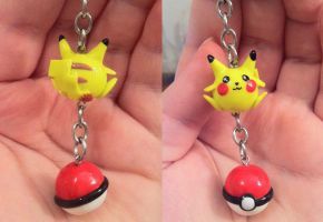 Pikachu and Ball Keychain/Charm by CemeteryDrive87