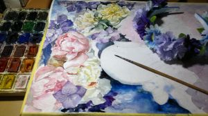 peonies and violet flowers WIP2 by DariaGALLERY