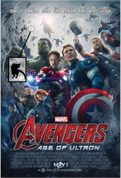 Cat floating in the Avenger age of ultron poster. by Valkyrie25