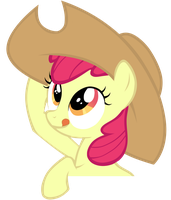 Vector: Applebloom wearing AJ's Hat by katiepox