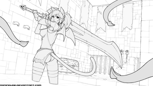 Commission - SapphicNeko Blademaster (WIP) by RoninDude