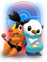 Tepig and Oshawott together by UncleLaurence