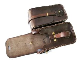 Steampunk leather twin pouch 5 by AmbassadorMann